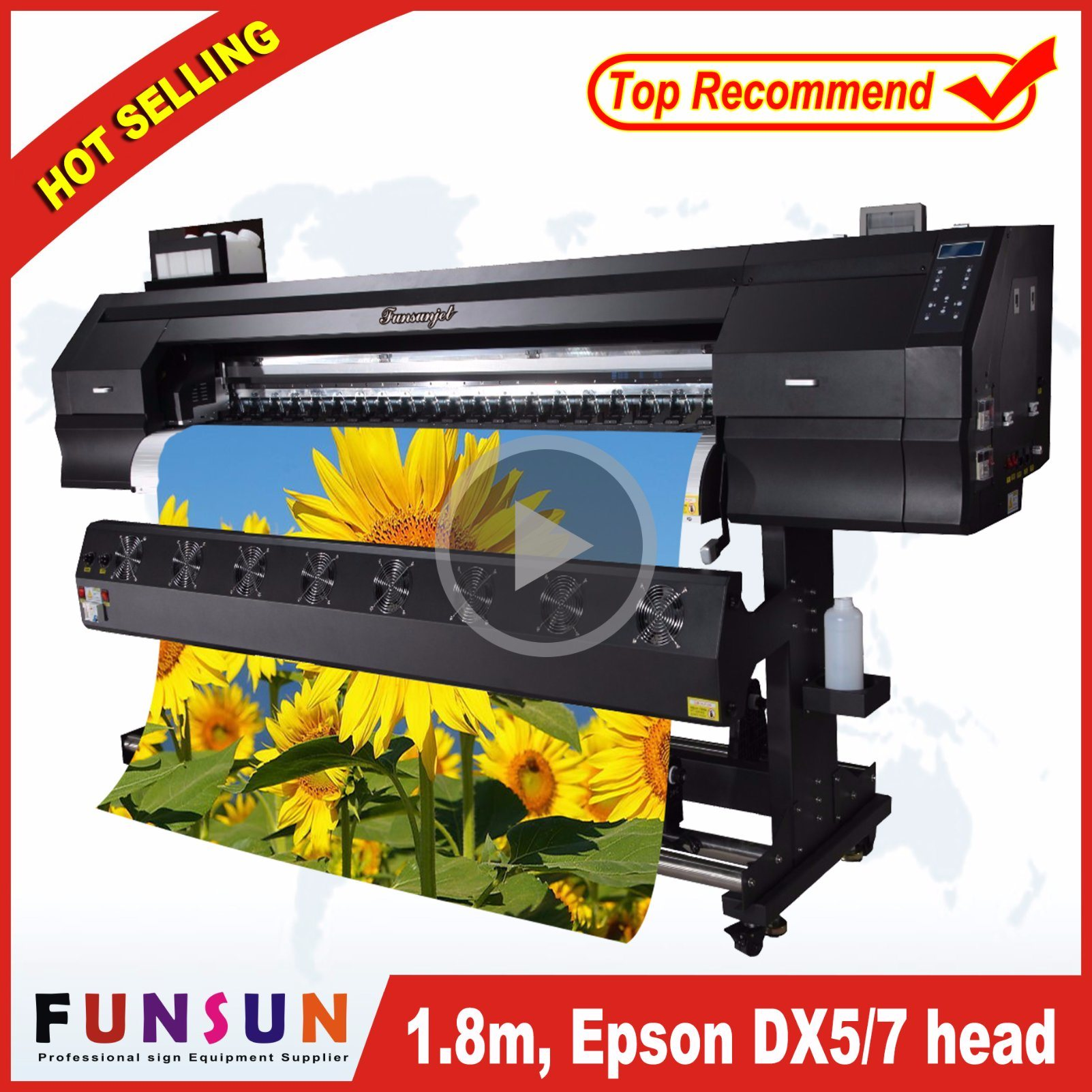 Big discount funsunjet fs 1802g 1 8m 6ft outdoor wide format printer with two dx5 heads 1440dpi for vinyl sticker printing
