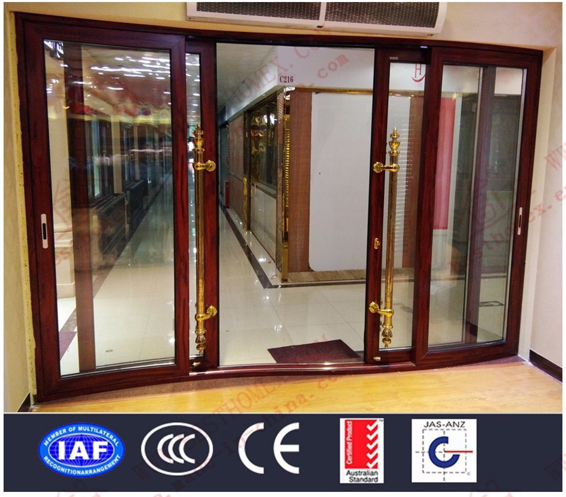 China Factory Deluxe Aluminium Curved Sliding Doors With Auminum