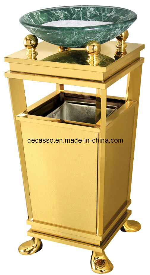 Glass Plate Titanium Stainess Steel Garbage Can (DK83)