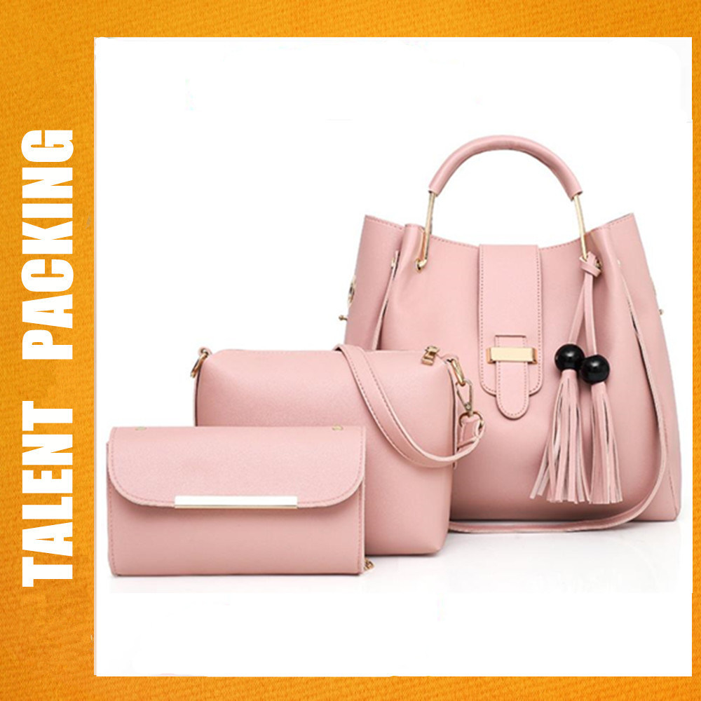 512cc8141aca China 3PCS Set Pink PU Leather Tote Shoulder Handbags Clutches Purse Bags -  China Bucket Bag with Tassel
