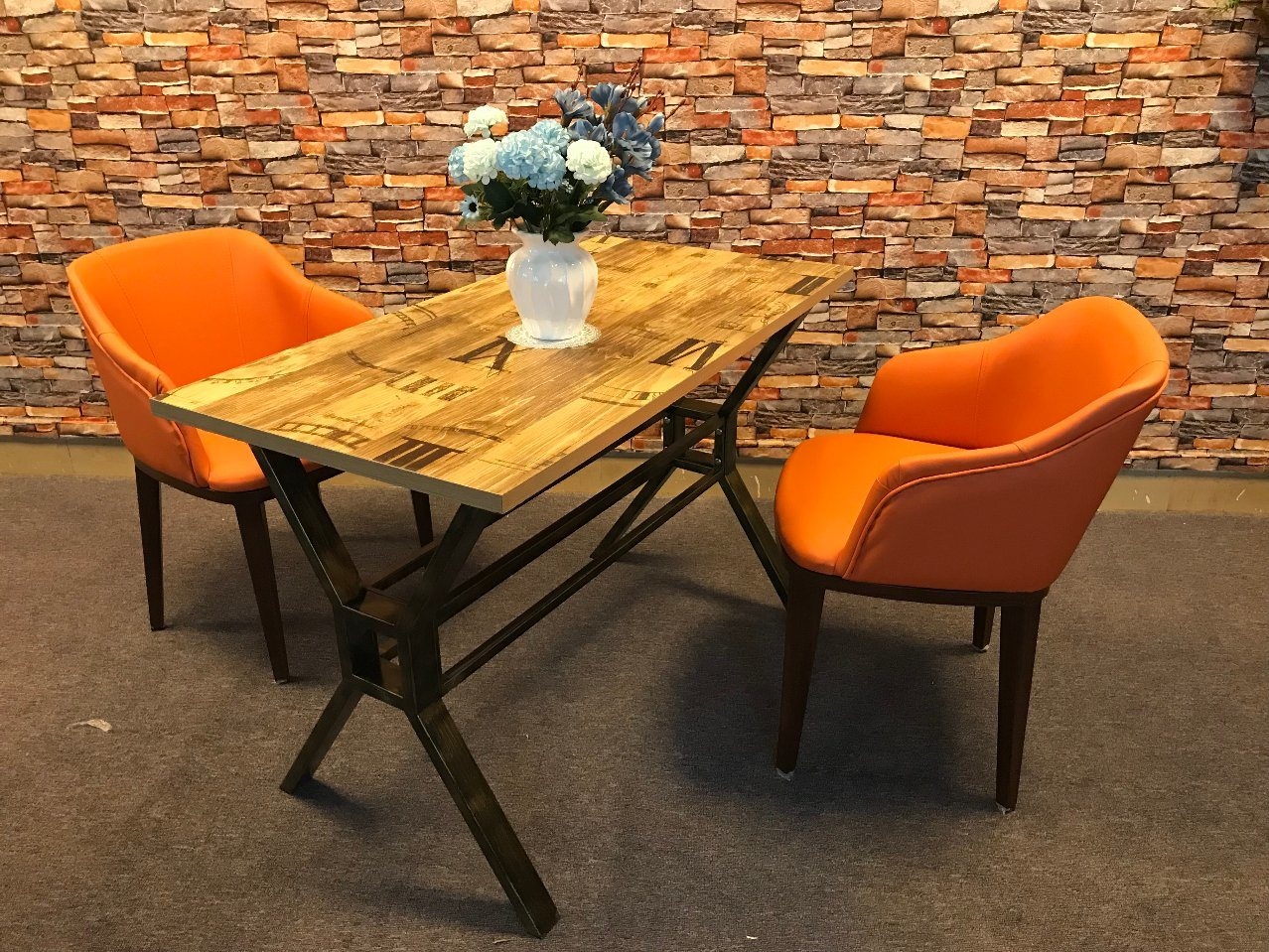 China x modern design heavy duty hotel restaurant dining table with wooden board china dining table wooden board table