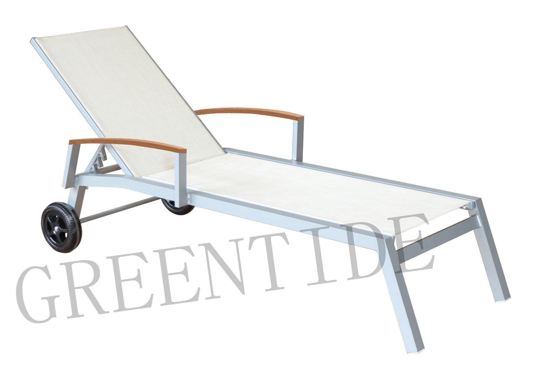 Aluminum Outdoor Patio Furniture Textilene Pool Chair Beach Sun Lounger with Wheels