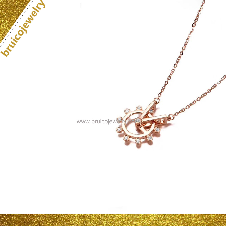 China Nice Design Rose Gold Chain Rhodium Plating Diamond Jewelry Necklace For Girls China Fashion Jewelry And Jewelry Necklace Price