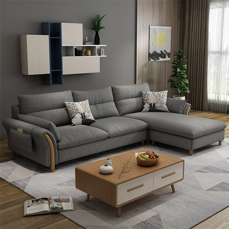 China Luxury Design Black Colour Fabric Sofa Set For Living Room - China Tufted Chaise Lounge, Tufted Chaise Couch