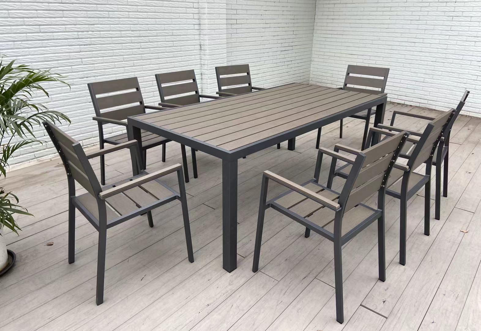 China Aluminum Plastic Wood Table Set