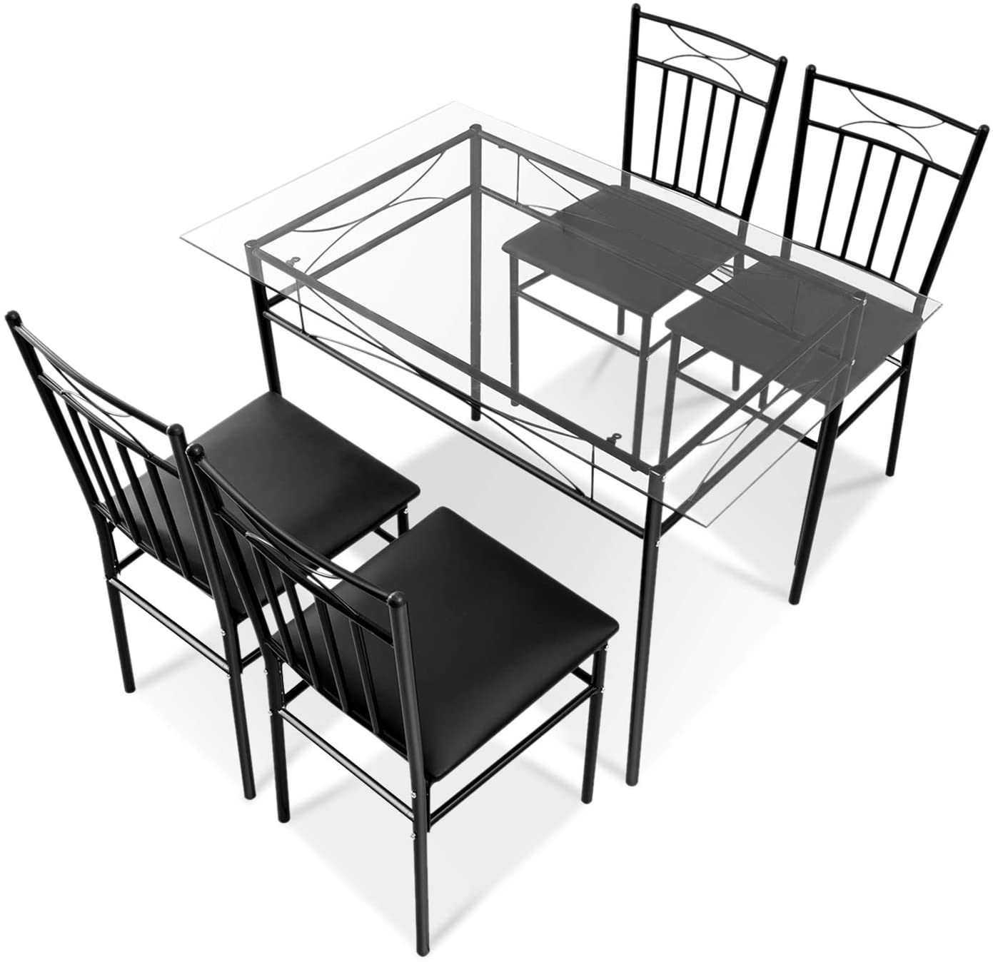 China Dining Table Set 4 Person Home Kitchen Glass Top Dining Table And Chairs Breakfast Furniture Black China Dining Table Dining Room Sets