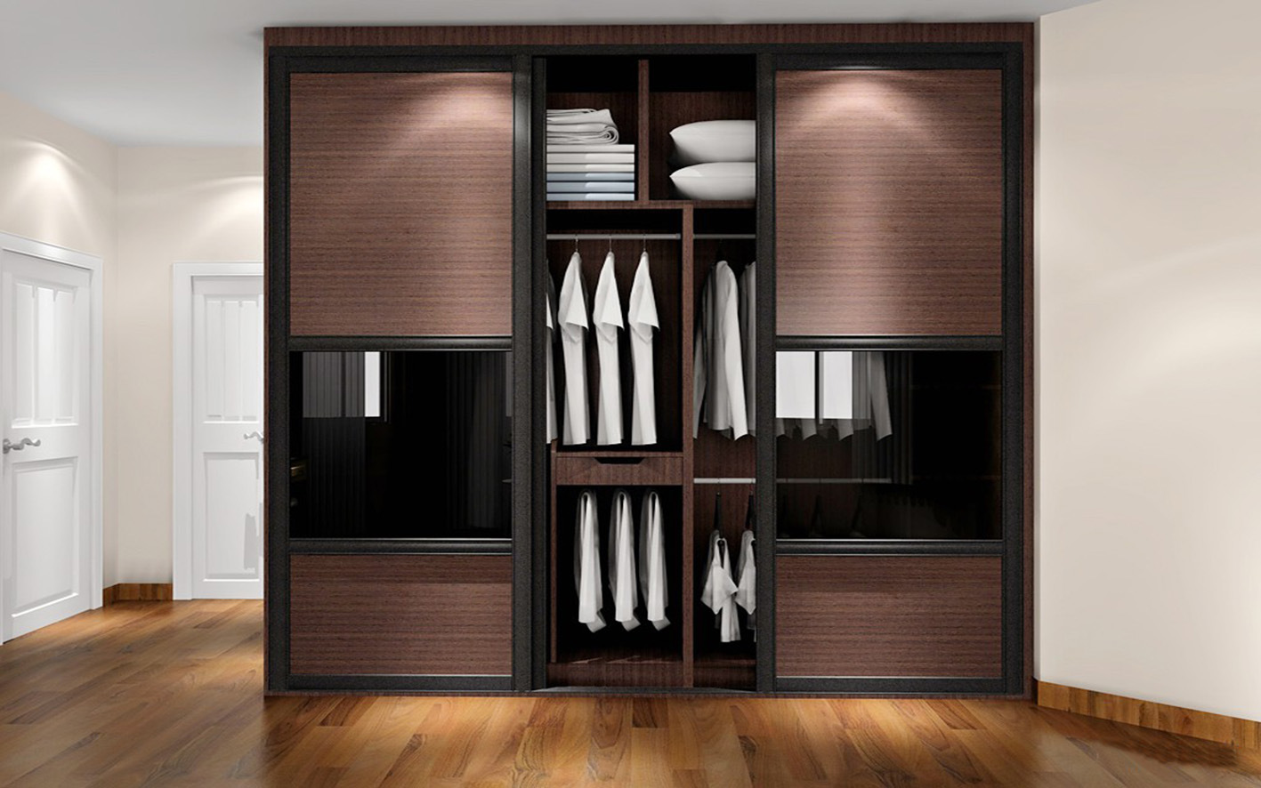 China High Quality Modern Cheap Wooden Sliding Door Wardrobe Zy 028