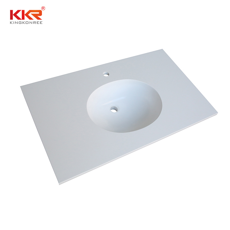 China Natural Stone Cultured Marble Bathroom Solid Surface 43 Inch Vanity Top With Undermount Sink China Kitchen Top Bathroom Vanity Top