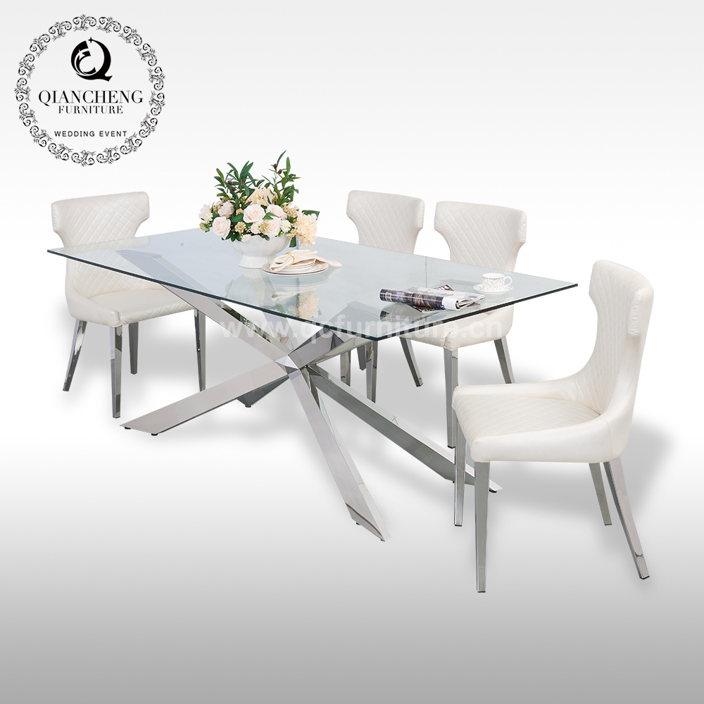 [Hot Item] Home Furniture Dining Room Dining Table Best Price Tempered  Clear Glass Dining Table