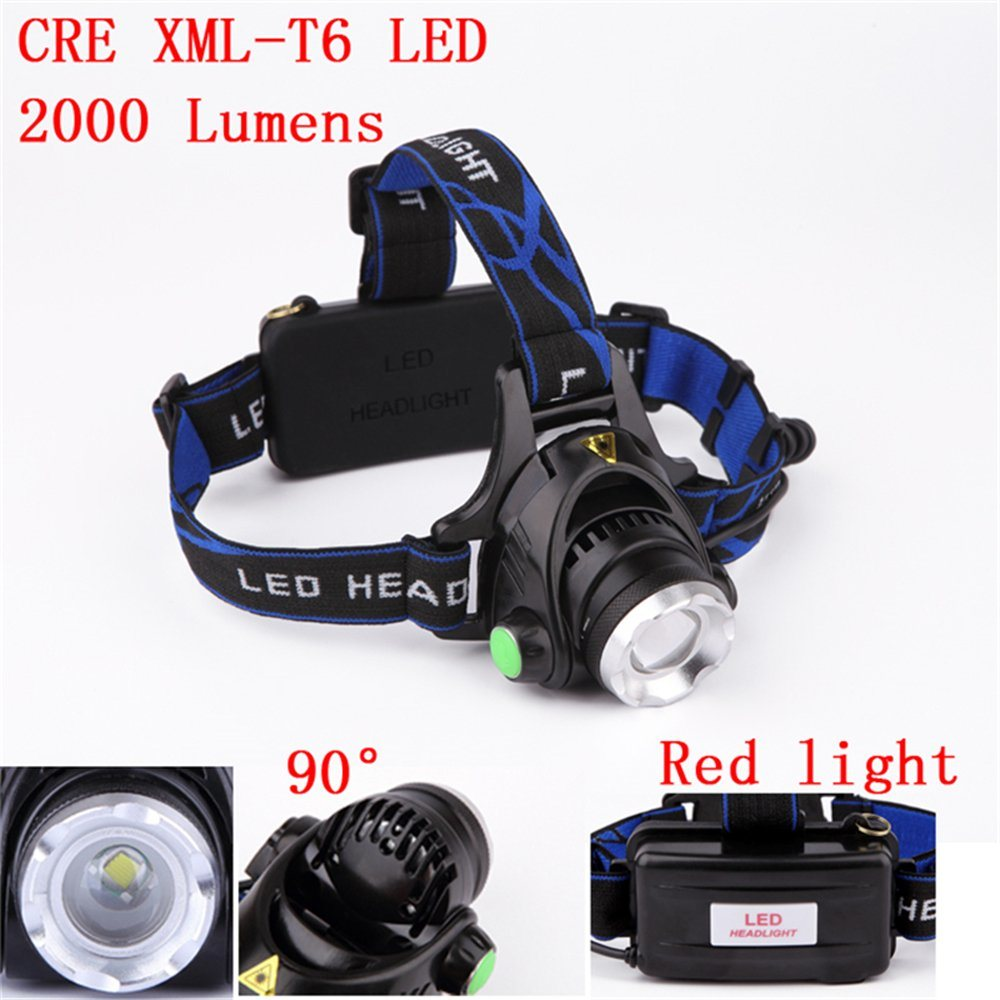 2000 Lm head light lamp Headlamp Headlight flashlight CREE XM-L T6 LED