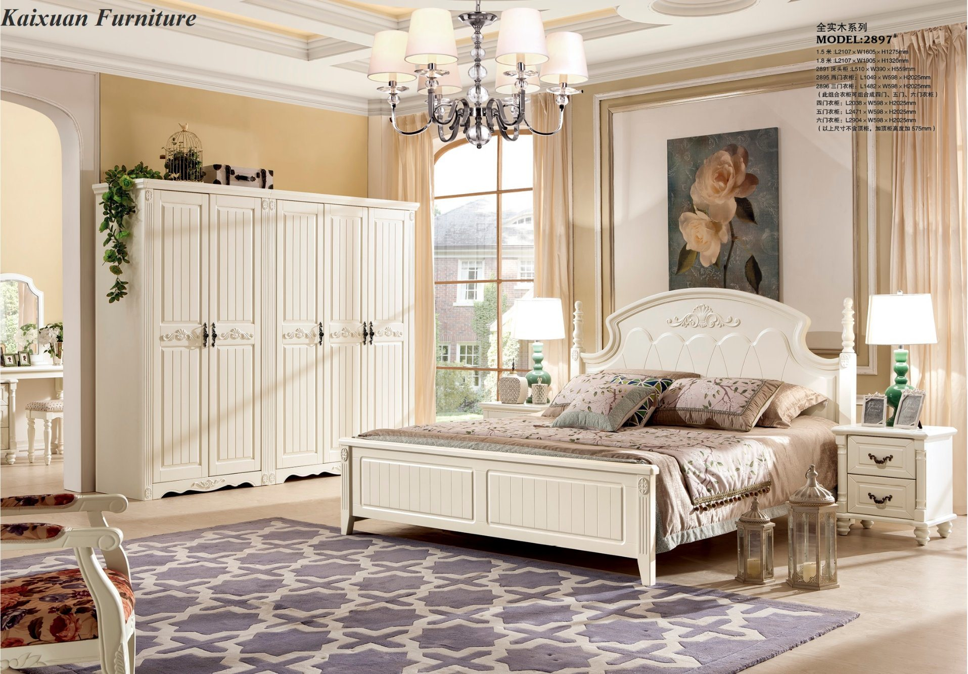 China Foshan Antique Solid Wood Bedroom Furniture Set In King Size