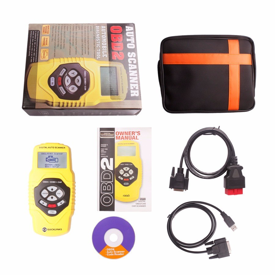 Leagend Quicklynks Multilingual Can Obdii Scanner T51 Auto Diagnostic Tool for OBD2 Eobd Jobd