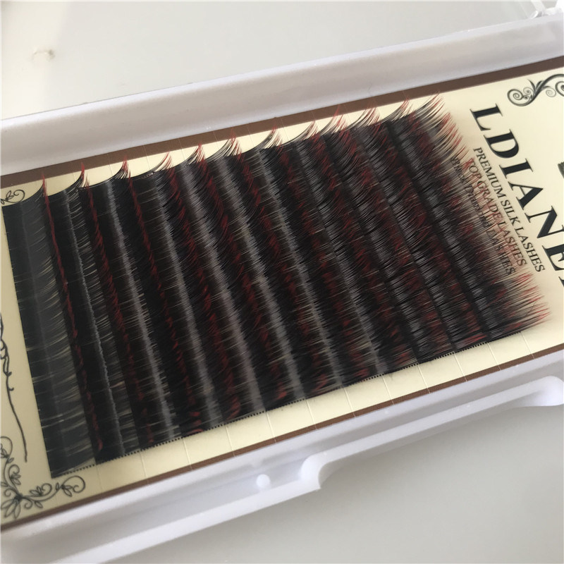 China Eyelash Extension Supplies Wholesale Ombre Color Private Label