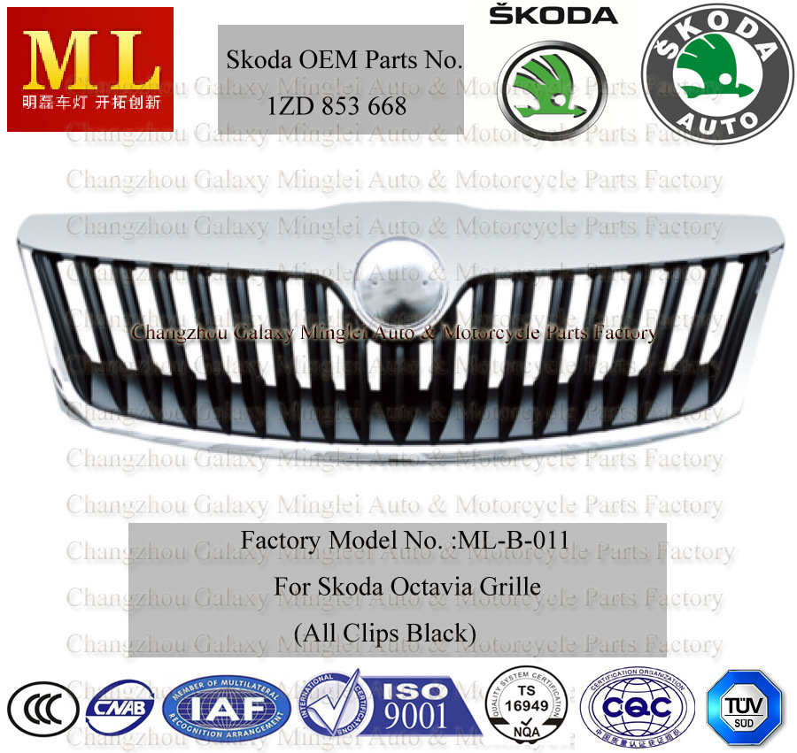 Car Radiator Grille for Skoda Auto Octaviafrom 2008-2ND Generation (OEM parts No.: 1ZD 853 668)