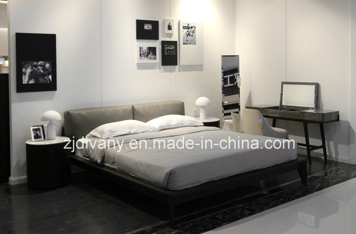 [Hot Item] Italian Modern Bedroom Furniture Wooden Leather Bed (A-B39)