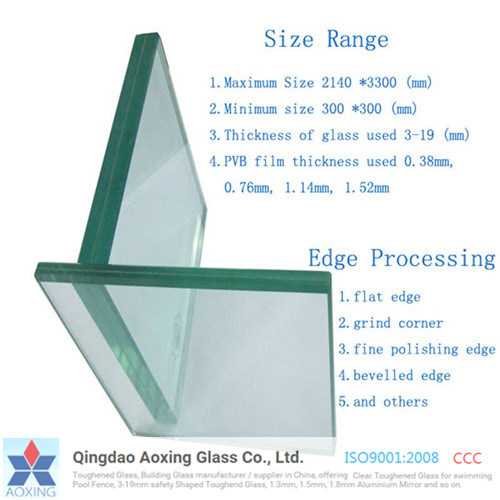 China toughened tempered clear sheet laminated glass for for Thickness of glass wall for exterior