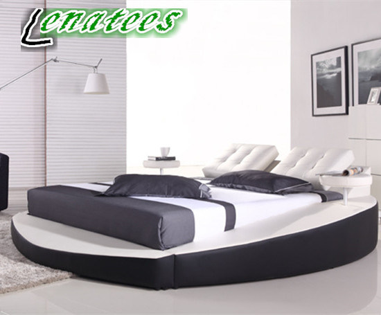 Hot Item A066 Modern White Round Bed With Tea Trays