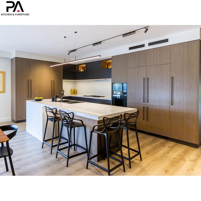 China Luxury Kitchen L Shaped And Island Melamine Solid Wood Kitchen Cabinets China Kitchen Cupboard Home Furniture