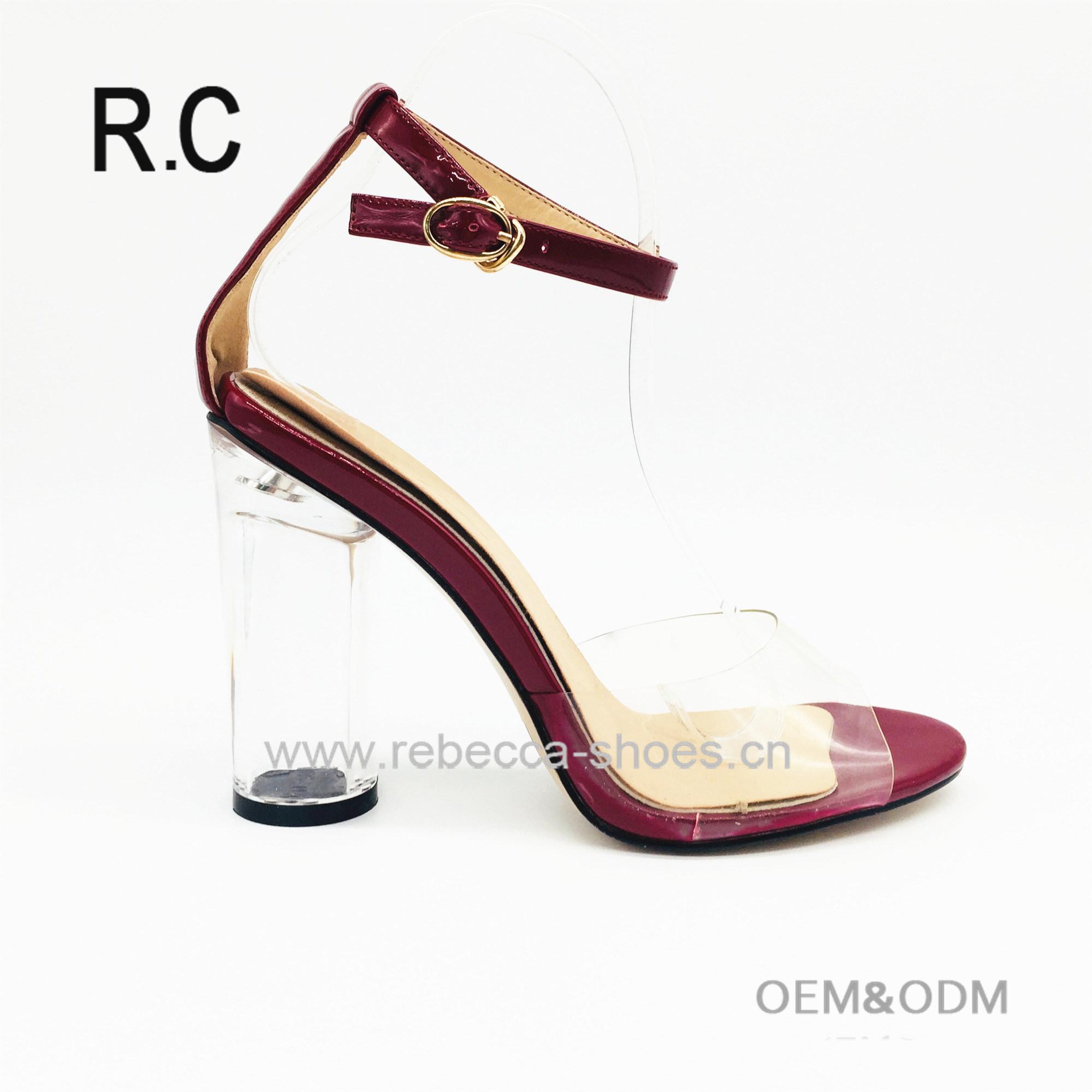 d07a9c1c67314f China Wholesale Custom Ladies Shoes PVC Transparent Block Heel Strap High  Heel Women Sandals