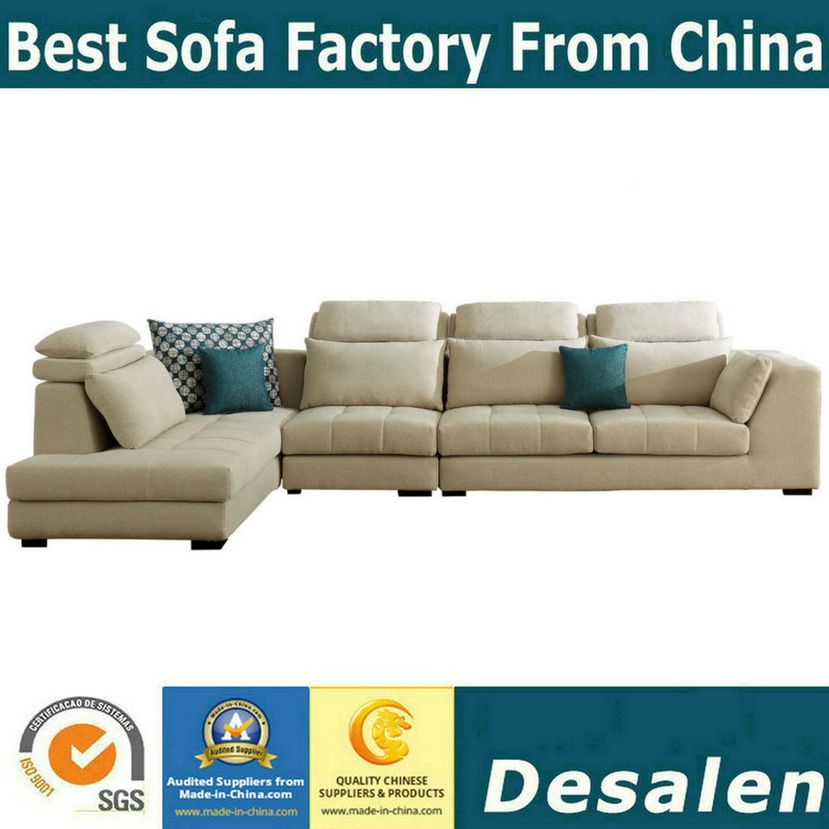 [Hot Item] L Shape Modern Couch Chaise Fabric Sofa (9076)