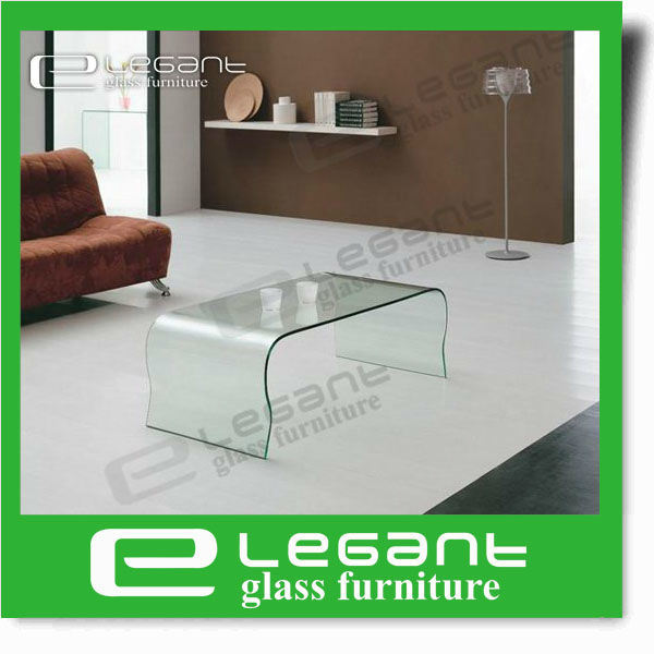 Round Corner Bent Glass Coffee Table with Beveled Edge pictures & photos