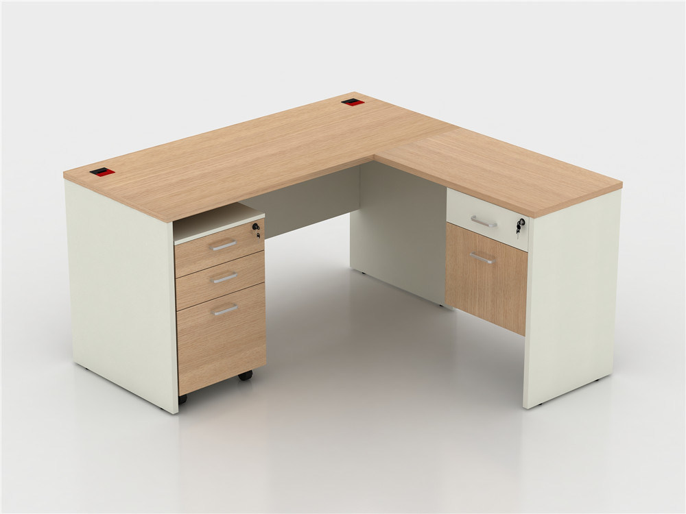 New Design Office Staff Computer Table Wooden L Shape Working Desk