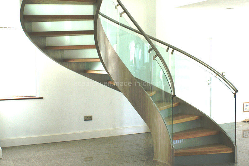 Best Price Curved Glass Staircases with Bent Glass Railing/Glass Spiral Staircase