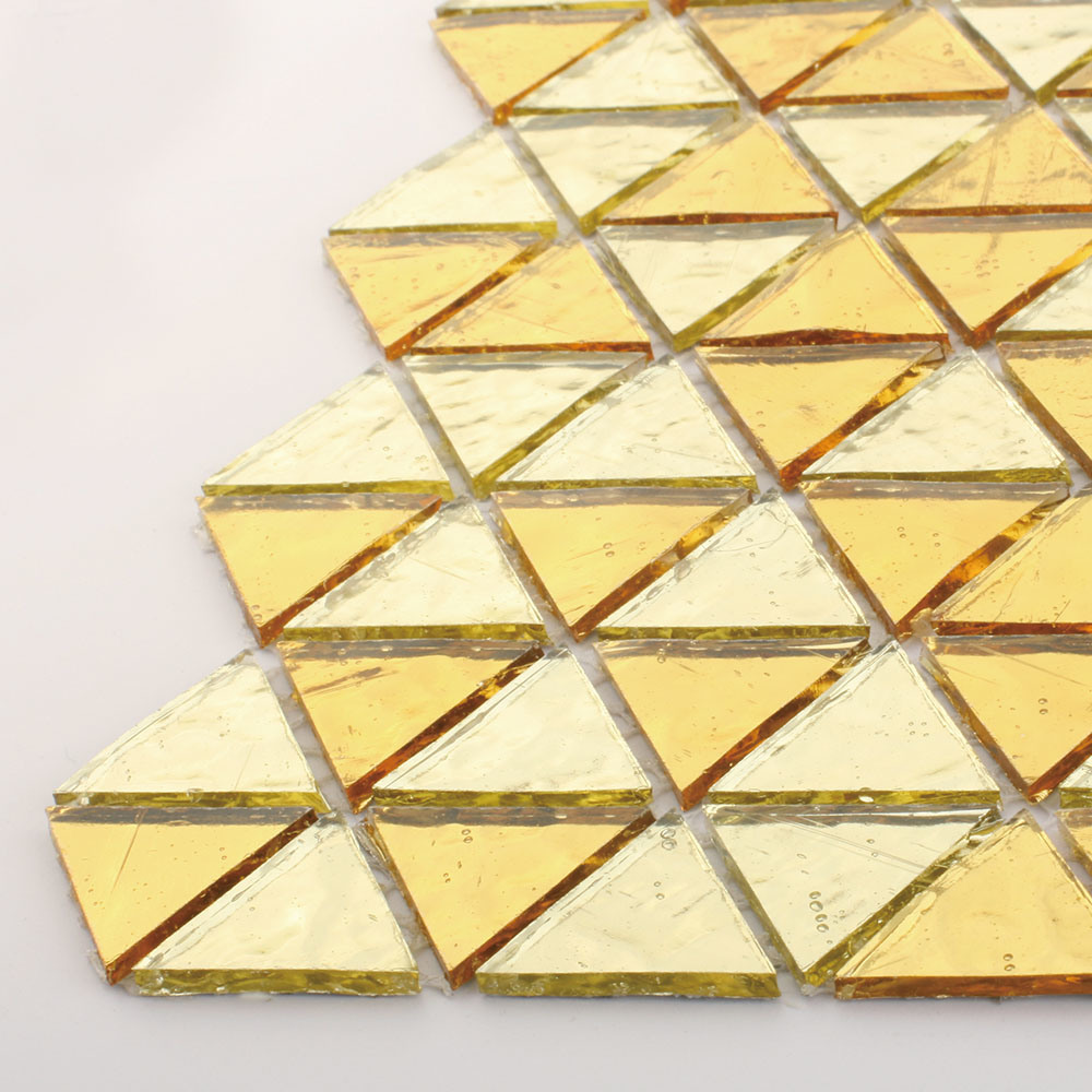 Luxury Gold Bathroom Wall Decoration Tiles Crystal Stained Glass Mosaic