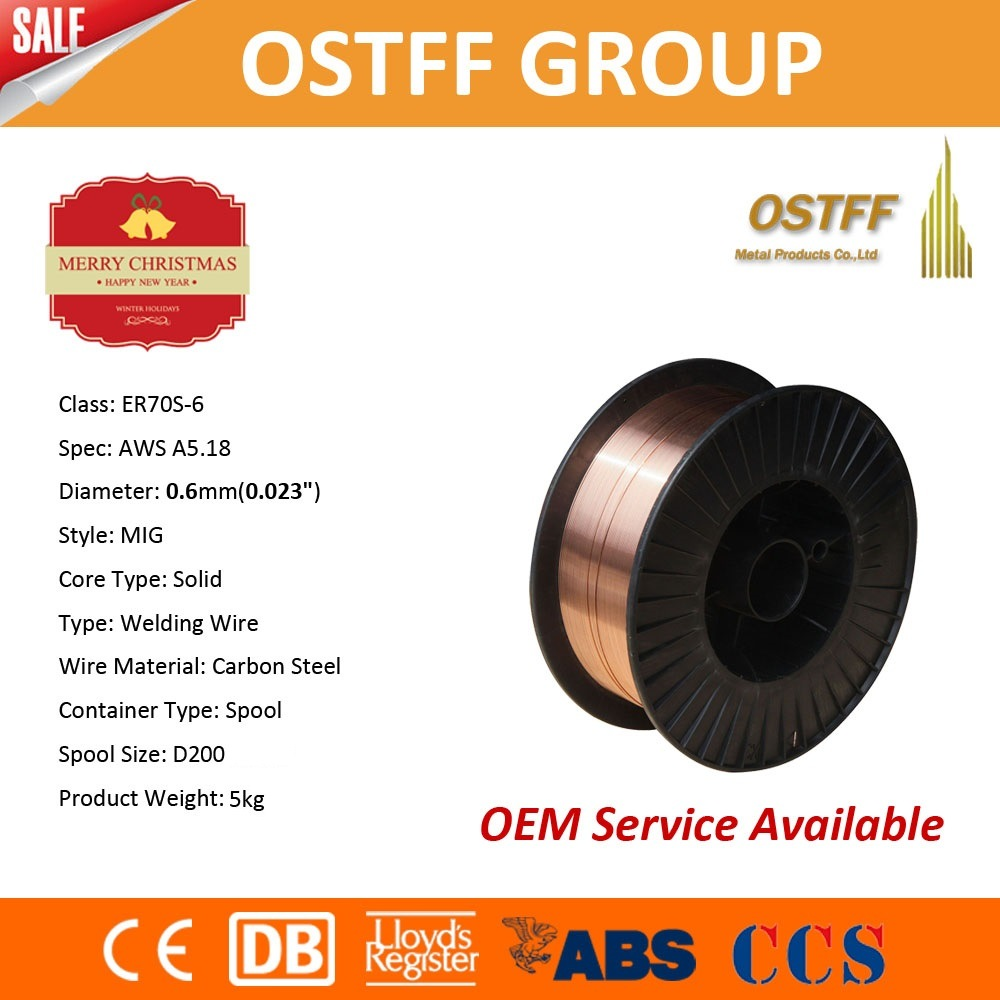 China Manufacturer Solid MIG Welding Wire (ER70S-6) with Ce, dB, ABS ...