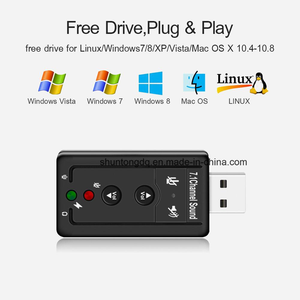 [Hot Item] External USB Audio Sound Card Adapter Virtual 7 1 CH USB 2 0 Mic  Speaker Audio Headset Microphone 3 5mm Jack Converter