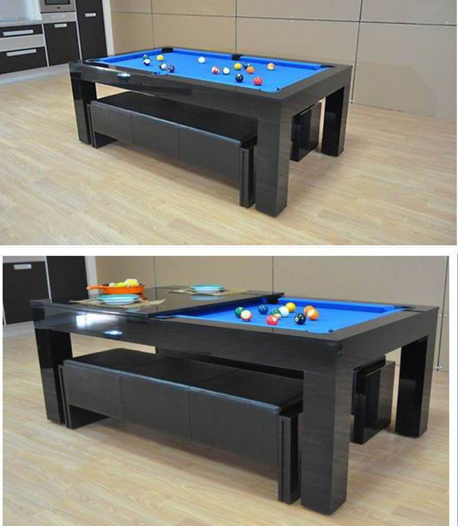 Hot Item Solid Wood Pool Table With Dining Top