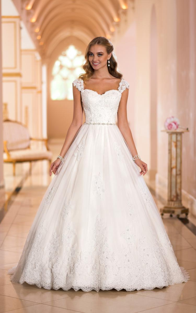 China Sweetheart Bridal Gowns Cap Sleeves Appliqued Wedding Dress ...