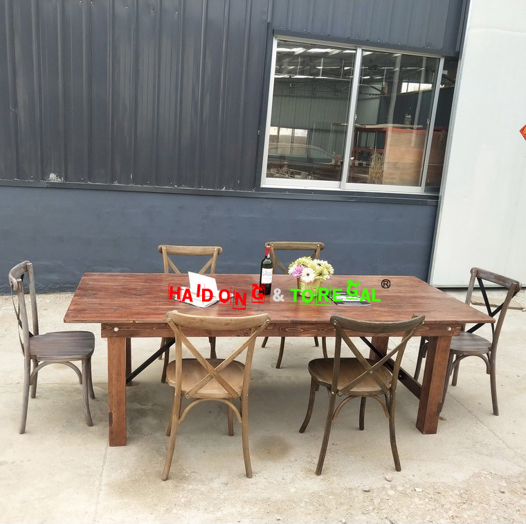 China Brown Color Pine Wood Banquet Folding Farmhouse Table Tables Rectangle