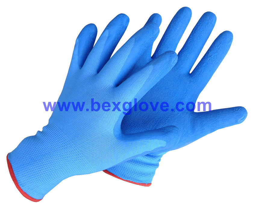 13 Gauge Nylon Liner, Latex Coating, Crinkle Finish Glove