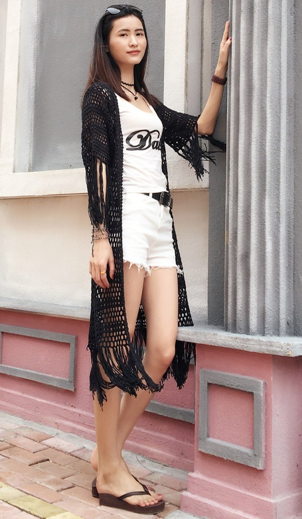 New Design Ladies Sexy Hand Crochet Short Sleeve Fringe Dress pictures & photos
