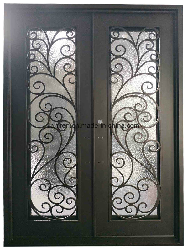 China Luxury Exterior Glass Front Doors With Iron Tempered Double