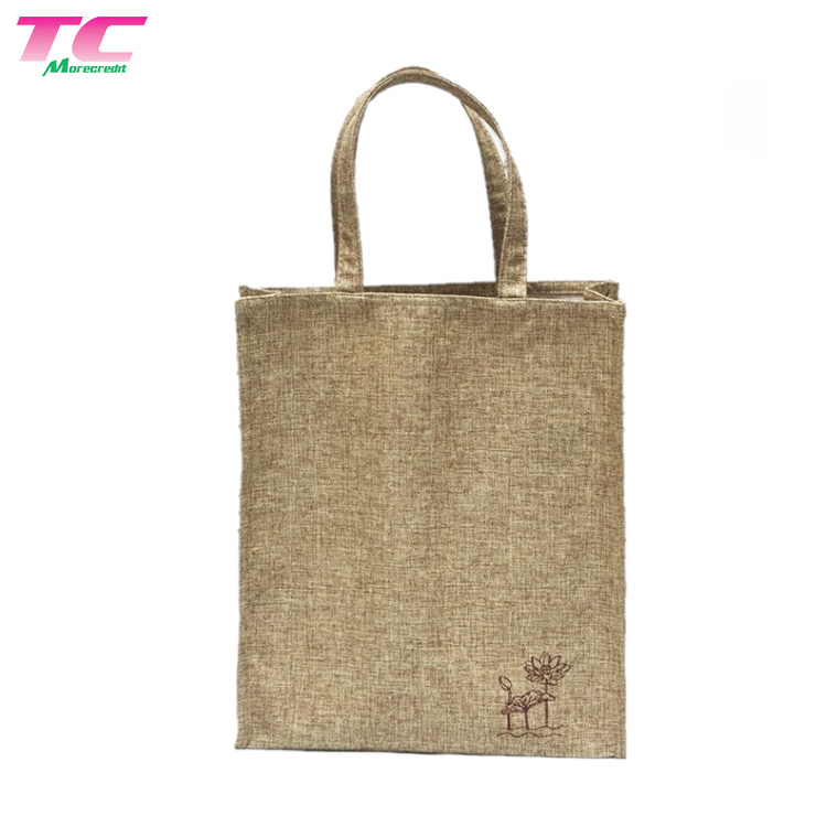 buy good outlet boutique in stock [Hot Item] Wholesale Eco-Friendly Carry Cheap Shopping Linen Jute Burlap  Tote Bag Printed Lotus
