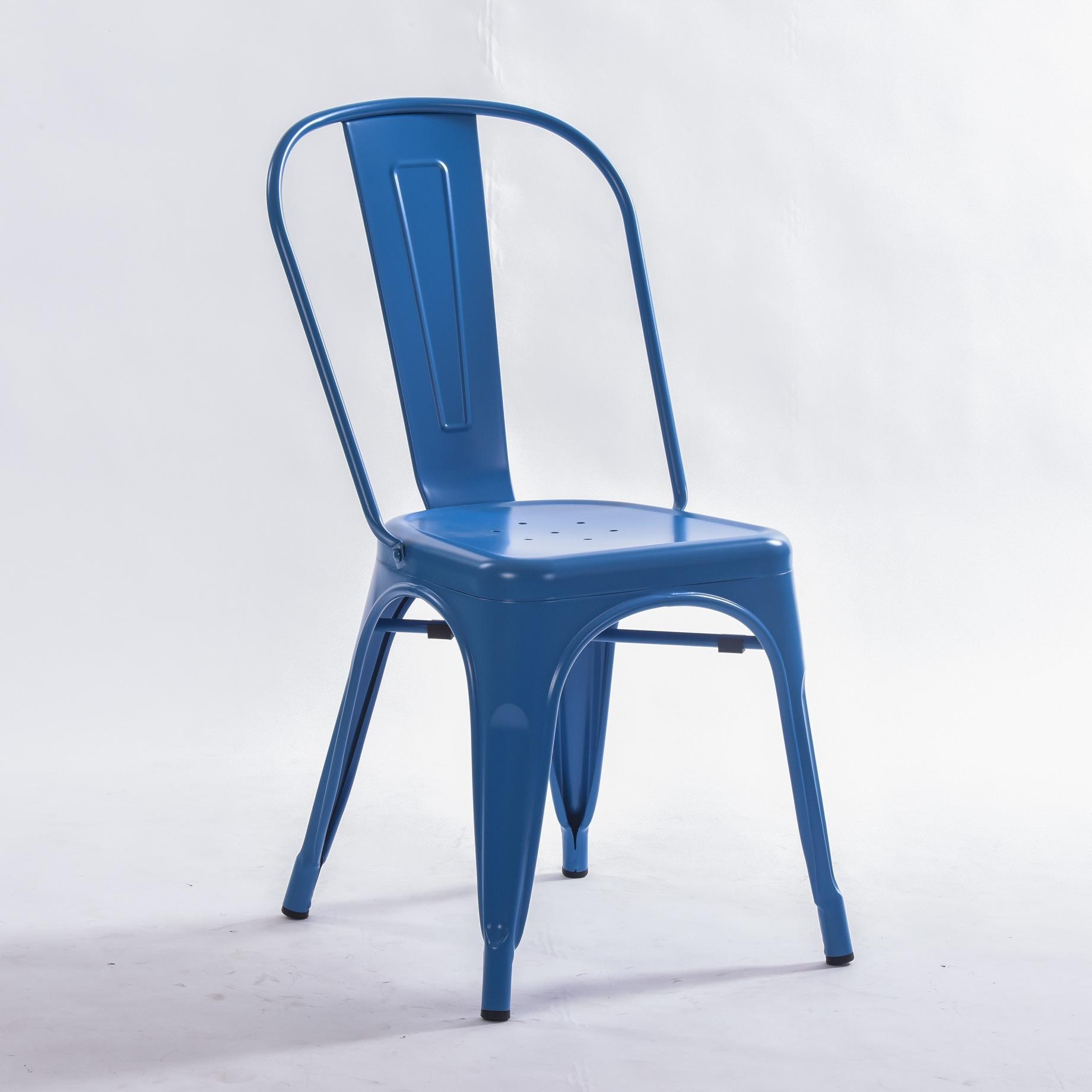 Hot Item Blu Metal Dining Indoor Outdoor Use Stackable Industrial Tolix Chair
