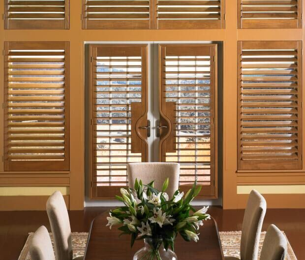 Basswood Bi Fold Indoor Window Shutters For French Doors 64mm Louver