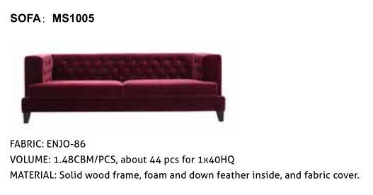 Simple Modern Fabric Sofa for Hotel #Ms1005 pictures & photos