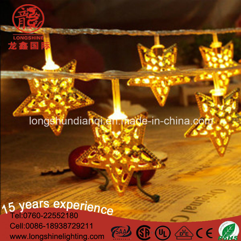 China Indoor Xmas Ramadan Decorative String Light with Gold Iron Stars - China Gold String Lights, 220V LED String Light