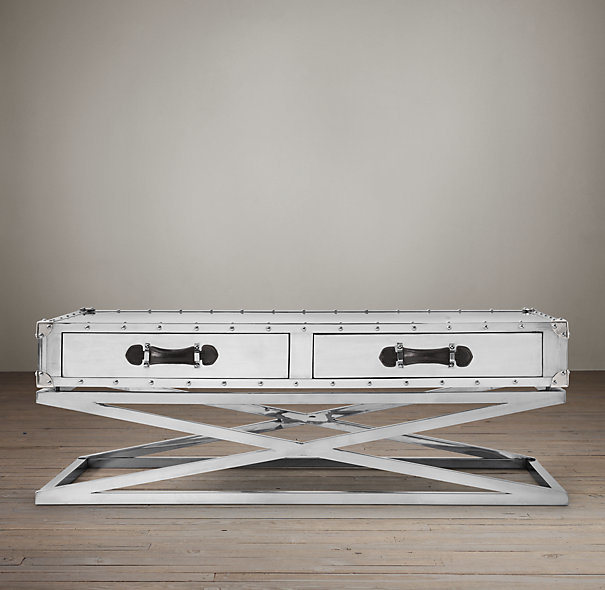 Classic Design Hotel Stainless Steel with Drawers Coffee Table, Cross Steel Base Coffee Table Rtk-92 pictures & photos
