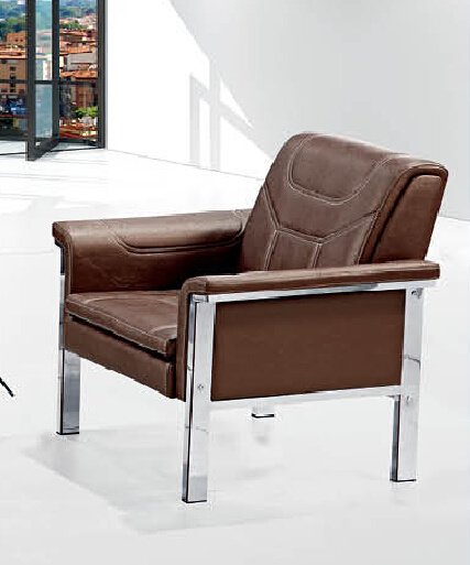 High Quality Popular Modern Design Office Leather Sofa With Metal Frame  Double Cushion 692#.