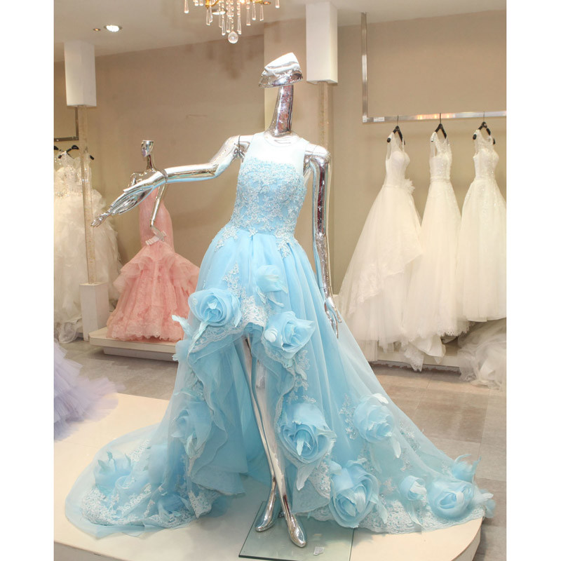 China Hot Selling Short Front and Long Back Light Blue Wedding Dress ...
