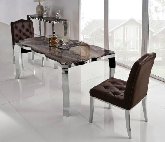 China Modern Metal Glass Dining Room Sets