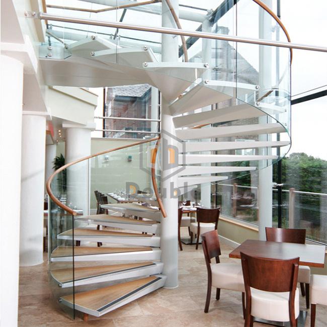 Curved Glass Spiral Staircase Design / Villa Indoor Spiral Stairs Glass  Tread