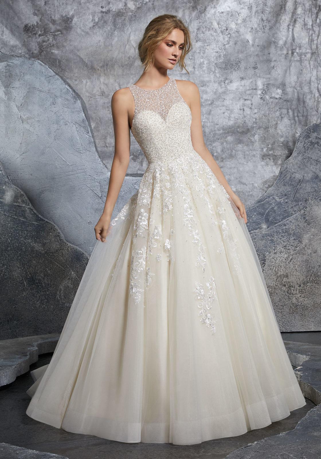 117262b7d1 China Princess Bridal Gown Beaded Appliqued Cream Tulle Beach Wedding Dress  M8215 - China Wedding Dress, Wedding Gown