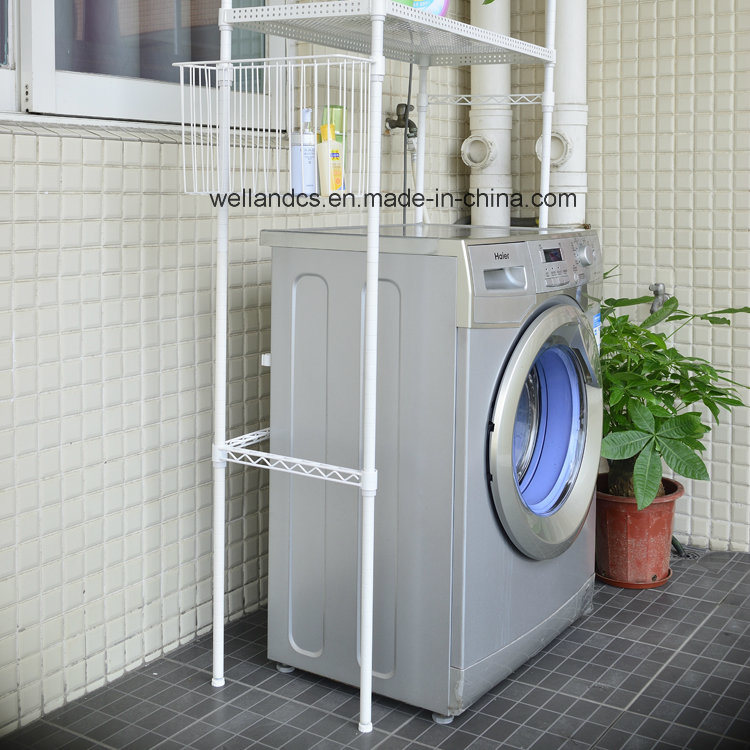 High Quality White 2 Layers Perforated Metal Bathroom Washing Machine  Storage Rack Shelf