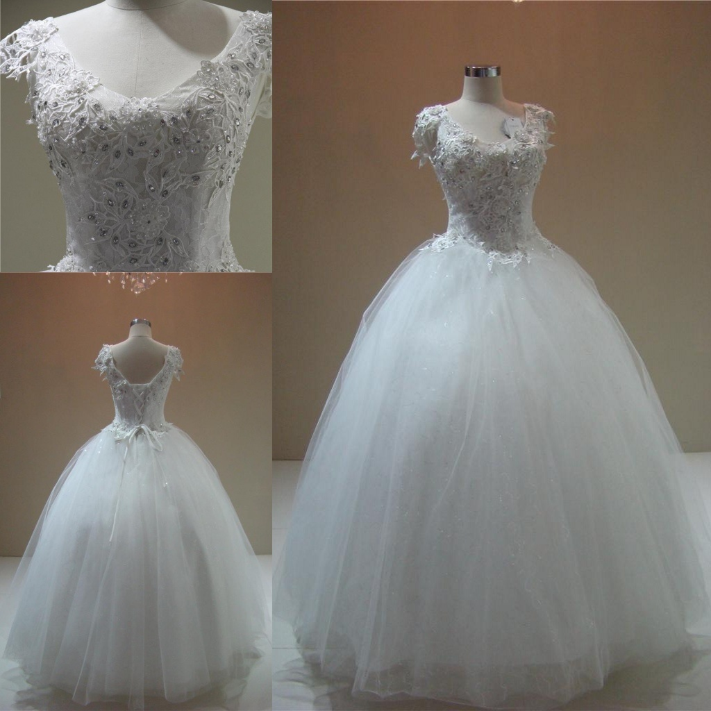 China Beading Crystal Lace Bodice Ball Gown Bridal Wedding Dresses ...