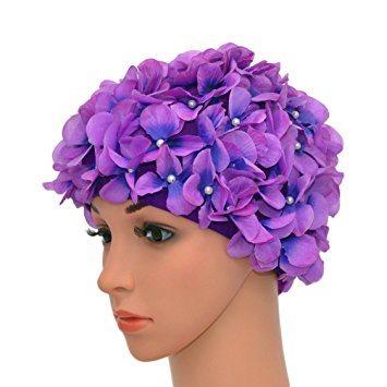 5f56308c28b China Vintage Floral Petal Retro Swim Caps Bathing Caps for Women ...